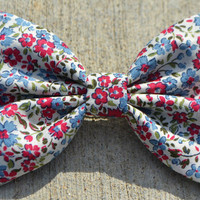 Red and Blue Tiny Floral Hair Bow by DreamingOfBows on Etsy