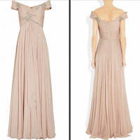 New Arrival Beach Card shoulder Sleeveless Floor-length Chiffon Applique Long Bridesmaid/Evening/Party/Homecoming/Prom/Cocktail Dresses 2013