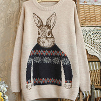 Cute Rabbit Jacquard Round Neck Sweater