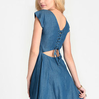 Henrietta Lace-Up Back Chambray Dress - $37.00 : ThreadSence, Women's Indie & Bohemian Clothing, Dresses, & Accessories