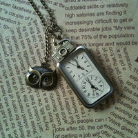 Double dial Steampunk Pocket Watch necklace by Victorianstudio