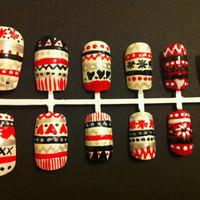 FREE UK DELIVERY Christmas nail art set, handpainted nail art