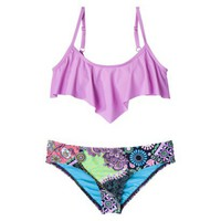 Junior&#x27;s 2-Piece Bikini Swimsuit -Lilac/Floral Print