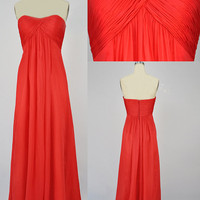 Strapless Sweetheart Long Red Chiffon Prom Dress, Bridesmaid Dress, Evening Dress