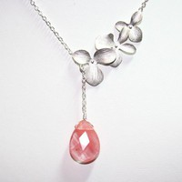 Silver Orchid Necklace Pink Stone flowers laiat by smilesophie