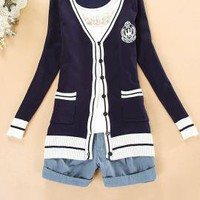 Ivy League Crested Knit Cardigan Sweater in Preppy Navy | Sincerely Sweet Boutique