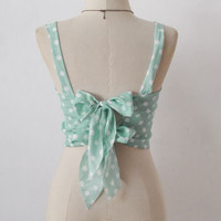 TANK hot TIE polka DOT Bralet Backless PINUP Bustier TOP BRA CROP Blouse XS S M