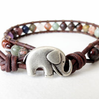 Gemstone surprise, hipster elephant bracelet made to order, custom order, good luck bracelet, lucky jewelry