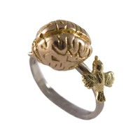 Birdbrain Ring An 18ct yellow gold bird red gold by Rockcakes