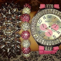Pink watch with shambala and spike (in gift box)