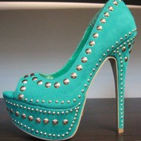 New Open Front Platform Stiletto Heel Spikes &amp; Studs Pumps Shoes Sea Green