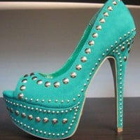 New Open Front Platform Stiletto Heel Spikes & Studs Pumps Shoes Sea Green