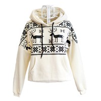 Winter Womens Deer Hooded Hedging Loose Sweater-EMS