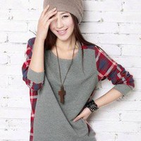 Korean Fashion T-SHIRT Check Pattern matching #1024 Lady Long Sleeve Tee Tops
