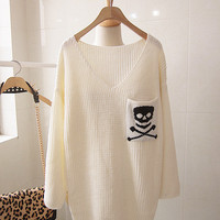 Skull V-neck Bat Loose Seeve Head Sweater