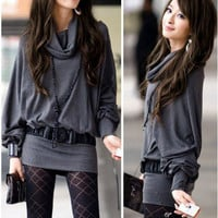 Stylish and Sweet Cowl Necked Buttocks Tight Long Blouse  - Sammydress.com