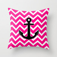 Magenta Zigzag Pattern Chevron Anchor Throw Pillow by Rex Lambo | Society6