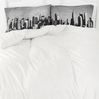 NYC Skyline Pillowcase - Set Of 2- Black & White ALL