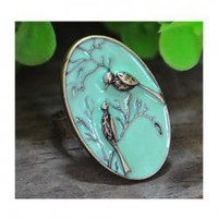 New Style Love Bird Pattern Blue Round Shape Rings China Wholesale - Sammydress.com