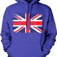 My Associates Store - Distressed Faded Great Britian Flag Mens Sweatshirt, Great Britain Flag Pullover Hoodie