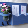Mail Holder - Double Slots - Key Hooks - Jar Vase - Organizer - Painted Distressed Wood
