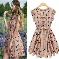 New Womens European Fashion Elk Deer Print V-Neck Sleeveless Chiffon Dress L103