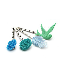 FREE SHIPPING. Miramar Beach Bobby Pins. Hair Accessories. Teal Green and Blue Flower and Bird Bobbies