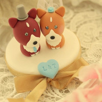LOVE ANGELS Wedding Cake Topper-  love Pembroke Welsh Corgis with base