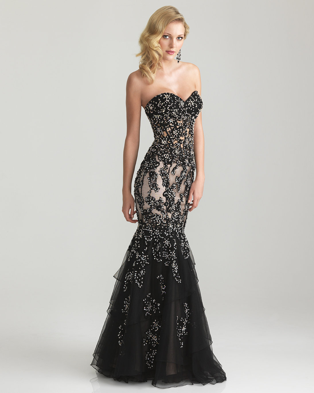 Black beaded lace tulle strapless from unique vintage for Little black wedding dress