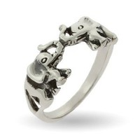 Amazon.com: Sterling Silver Lucky Double Elephant Ring: Eve&#x27;s Addiction: Jewelry