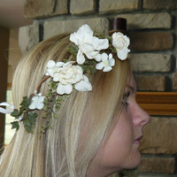 Weddings, Bridal Accessories, Hair Accessories, Bridal White Flower Crown, Bridal  Head Piece,  Crown Head Piece, Wedding Flower Headpiece