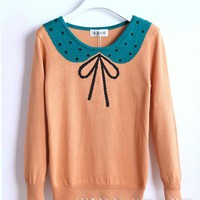 Saleable Japanese Style Bow Knot Polka Dots Knitwear: tidestore.com
