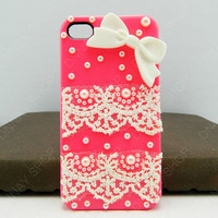 Fashion iphone 5 iphone 4 case case Lace case bows by dnnayding