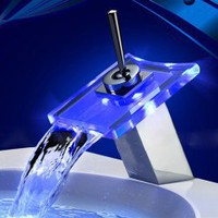 Single Handle Chrome Waterfall LED Bathroom Sink Faucet-EX0815F China Wholesale - Everbuying.com