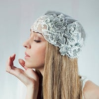 Bridal  Cap Veil , Vintage wedding head piece , Crystal lace Bridal hair cap, weddings hair   -  Style 200 - Made to Order