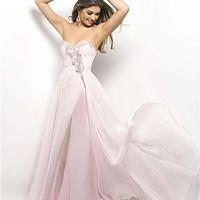 Crystal Pink Gathered Chiffon Rhinestone Strapless Prom Dress - Unique Vintage - Cocktail, Pinup, Holiday & Prom Dresses.