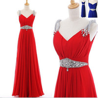 Custom Beach V-neck Floor-length Chiffon Sashes Beading Long Bridesmaid/Evening/Party/Homecoming/Prom/Formal Dresses 2013 New arrival