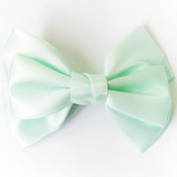 Large Mint Green Satin Ribbon Bow Hair Clip