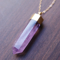 Amethyst Point Gold Necklace