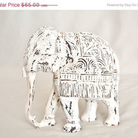 ON SALE Distressed White Vintage Wooden Elephant