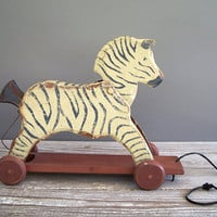 vintage zebra wood pull toy by KatyBitsandPieces on Etsy