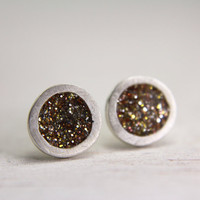 fine silver post earrings with gold sparkles - organic post earrings - sterling silver