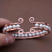 $42.00 Copper and Pearl Cuff Bracelet by AlaskaFirefly on Etsy