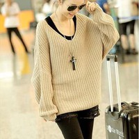 new knit wool women baggy cardigan batwing top sweater jacket coat