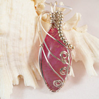 Purple Dragon Vein Agate Pendant, Wire Wrapped Jewelry, Handmade