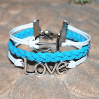 love bracelet anchor bracelet with white blue strings