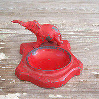 vintage red elephant metal tray by KatyBitsandPieces on Etsy