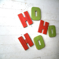 HoHoHo Wooden Sign Merry Christmas Red and by SlippinSouthern