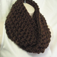 Dark Brown Cowl Infinity Circle Scarf Neckwarmer Wool Blend