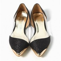 Wholesale Mashup the West Hofn style Western metal cusp flat shoes CZ-1025 black - Lovely Fashion